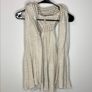 NWT Free People Hooded Knit Sweater Vest Tan